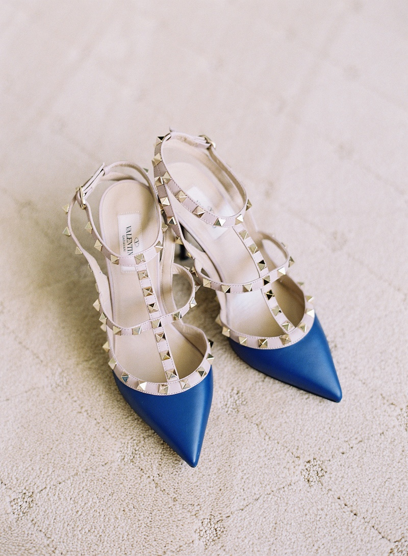 6c34b3c38864 Something Blue Wedding Shoes. 0 Favorites  2 Repins. Valentino pumps with  silver-studded straps