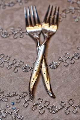 Bride and groom's cake forks inscribed with wedding date, Mr. and Mrs. on handles