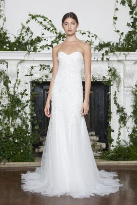 Monique Lhuillier Fall 2018 Strapless modified sweetheart gown floral embellishments tulle train