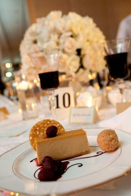 Wedding dessert cheesecake with raspberries