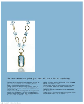 18K gold and blue topaz Hex necklace with gold and blue rectangle enhancer, by Dominique Cohen.
