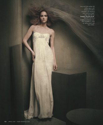 80e0a5659775 Ivory and blue ombre silk chiffon gown with draping at bustline accented  with beading and matching