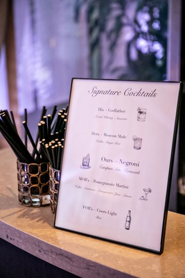 wedding reception bar signature cocktail menu his hers ours mother of bride and father of bride