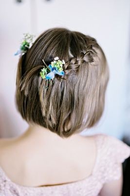 natural flowers flower girl hair accessory clip real blooms braided hairstyle british garden wedding