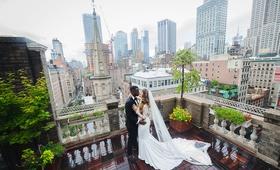 bride in pronovias wedding dress, groom in tuxedo