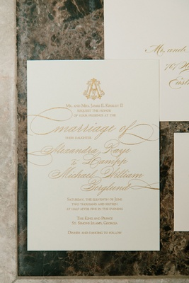 Wedding invitation suite with gold monogram and multi sizes of calligraphy rectangle card