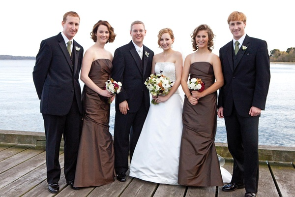 Bride and groom with two bridesmaids and groomsmen