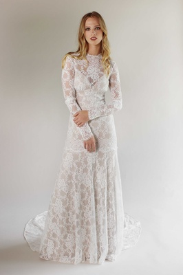 Romantique by Claire Pettibone Spring 2017 California Dreamin' long sleeve lace wedding dress