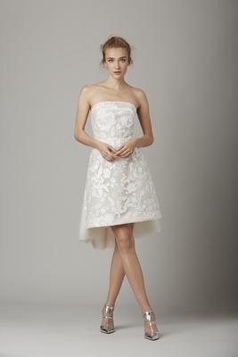 Strapless flower pattern short wedding dress by Lela Rose