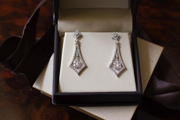 Diamond drop pendant earrings in jewelry box