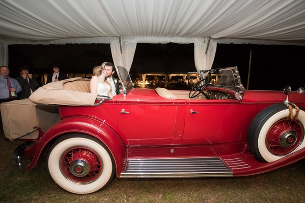 red vintage model A ford convertible for newlywed getaway car