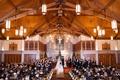 New Year's Eve wedding ceremony at Catholic church minimal decor priest bridesmaids groomsmen