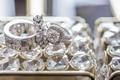 double shank halo engagement ring, diamond men's wedding band, diamond floral women's wedding ring