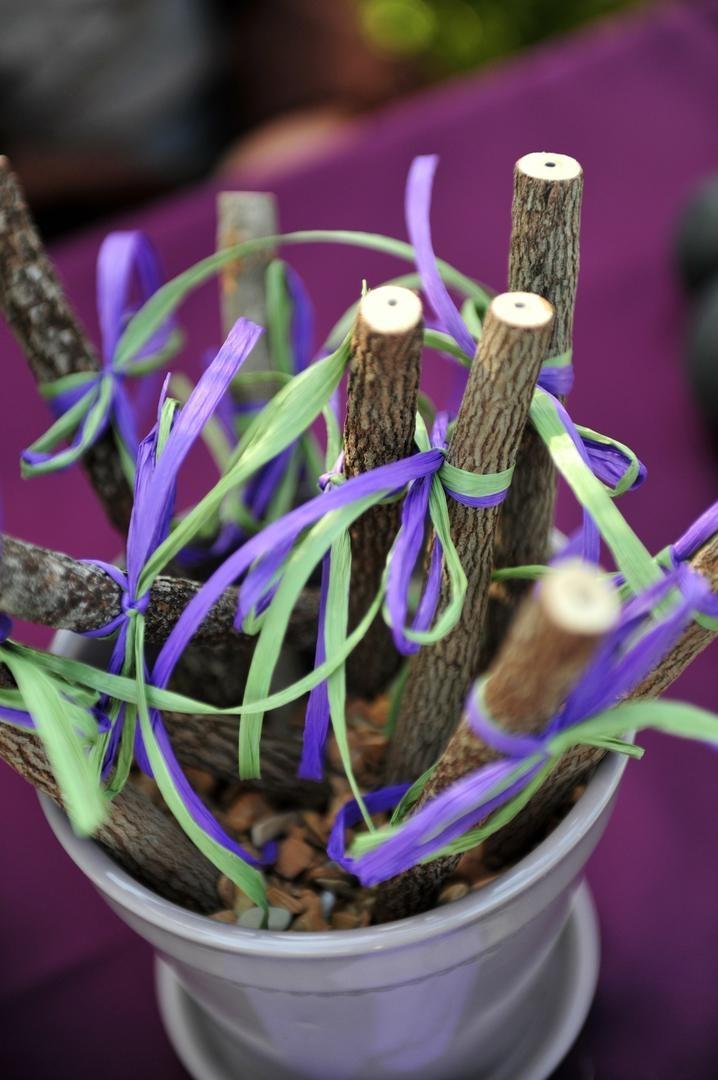 Wishing tree bark pencils with raffia ribbon