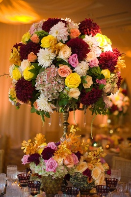 Dahlia, rose, hydrangea wedding flower arrangement