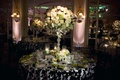 Ballroom wedding with black, white and green decorations
