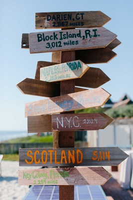 wooden arrow sign different places miles away scotland florida new york beach wedding