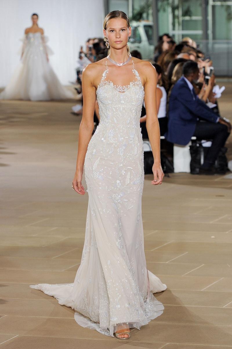 Ines Di Santo fall 2019 bridal collection wedding dress Kaia, halter neckline low back, beading