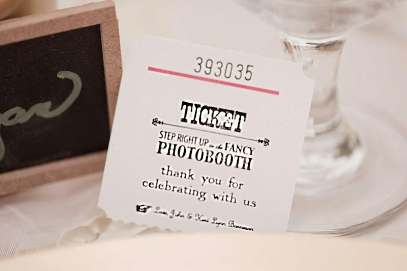 Vintage-style ticket for wedding photo booth