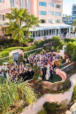 seaside ceremony saying vows guests family southern california wedding la valencia hotel la jolla