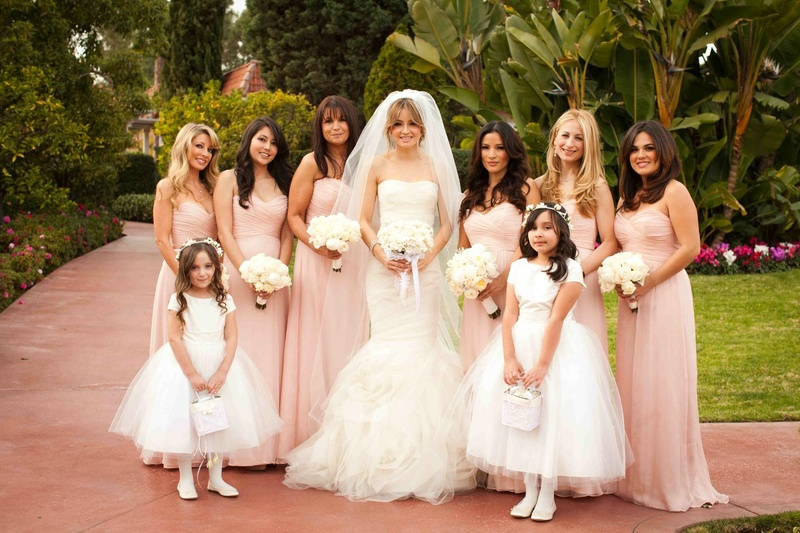 1f3993e183e Pink Bridesmaid Dresses. 0 Favorites  0 Repins. Bride with flower girls and  bridesmaids at The Beverly Hills Hotel