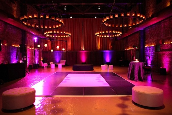 White and black dance floor with vibrant lighting