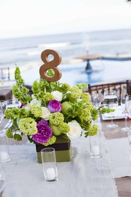Green and fuchsia floral centerpiece