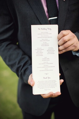 Tall wedding ceremony program with wedding party details and thank you note from bride and groom