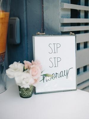 "engagement party inspiration, bar sign reading ""sip sip hooray"" minimalist decor"