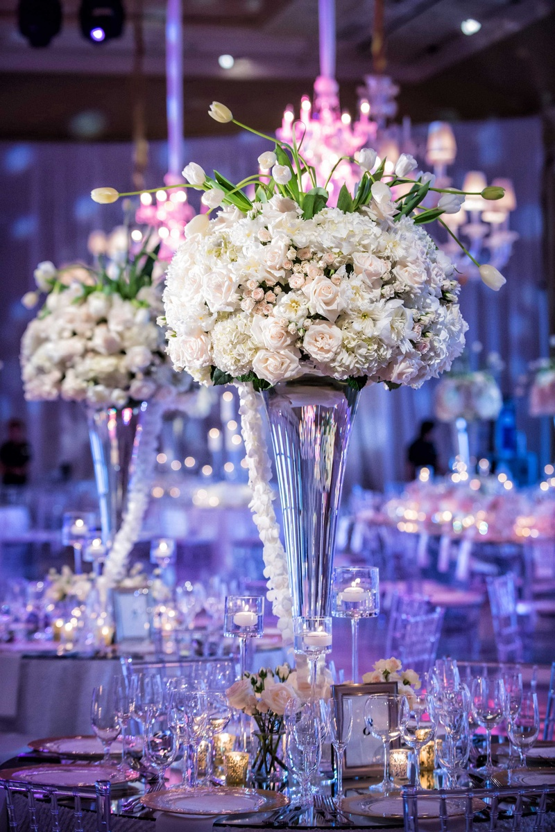 Reception Dcor Photos Pale Pink Ivory Tall Centerpiece Inside