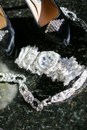 bridal wedding garter with crystal details