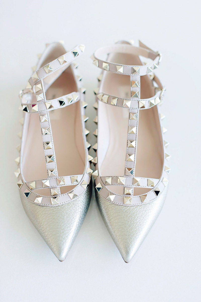 598e6a188c2c Shoes   Bags Photos - Metallic Stud Wedding Flats - Inside Weddings
