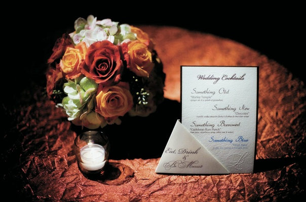 Signature cocktail menu with wedding monogram