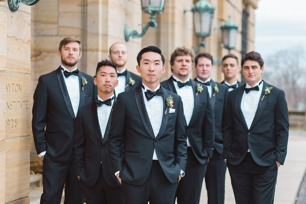groom groomsmne classic tuxes boutonnieres dayton ohio wedding boyrs men gentlemen serious picture