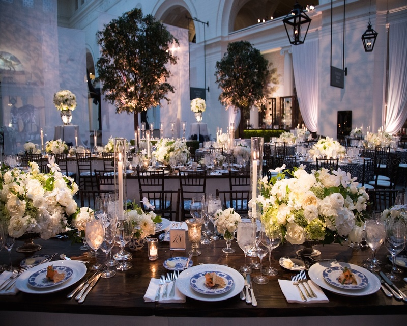 One-of-a-kind tablescapes  overlook the dance floor.
