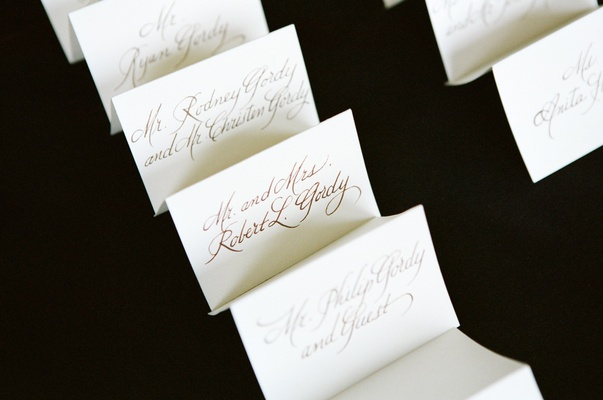 Ivory V-shaped cards written in calligraphy