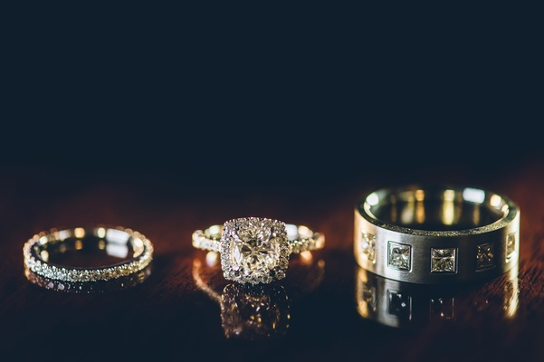 Men's and women's wedding rings with diamond accents