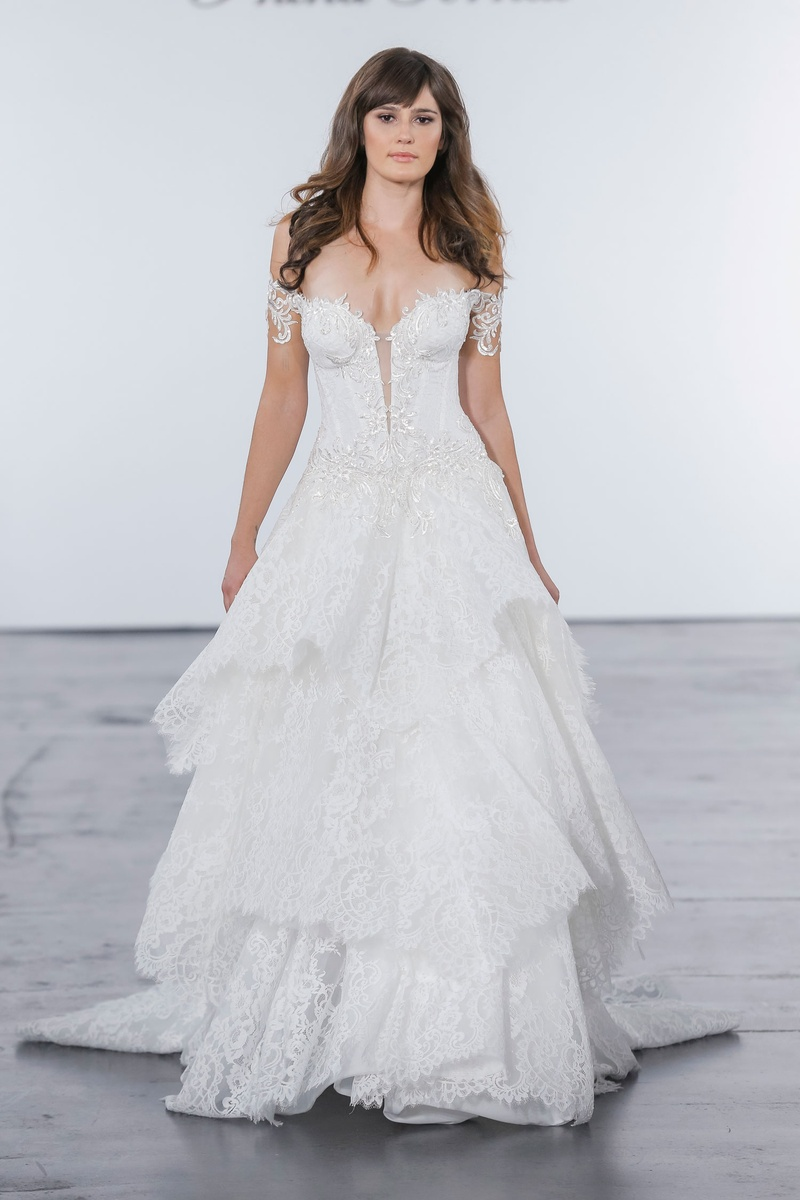 Pnina Tornai for Kleinfeld 2018 wedding dress off shoulder dress lace layer skirt open off shoulder