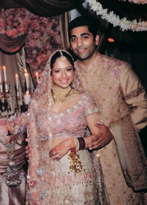 Indian couple in sari and sherwani
