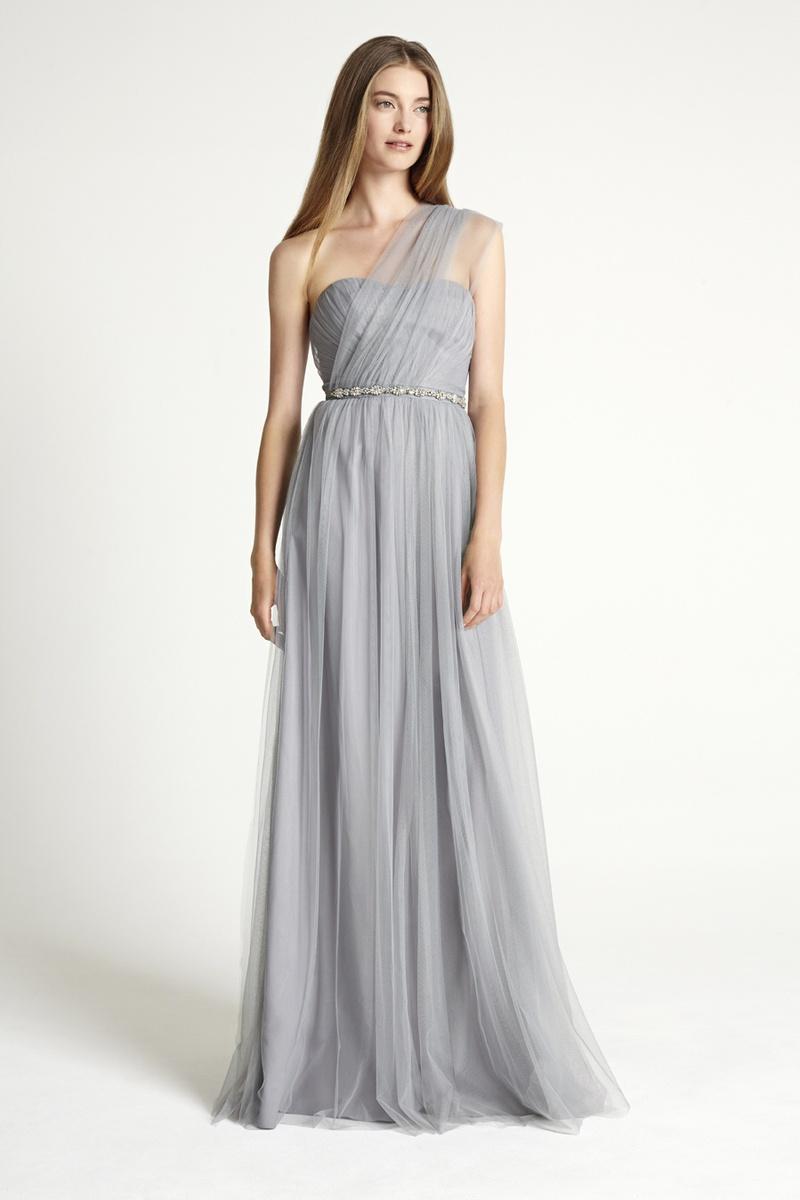 Shoulder one Grey bridesmaid dress