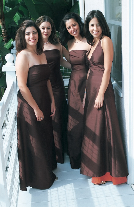 bridesmaids wearing long chocolate brown gowns