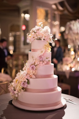 Ron Ben-Israel Cakes five layer wedding cake pink ribbon flower sugar flowers cascading down cake