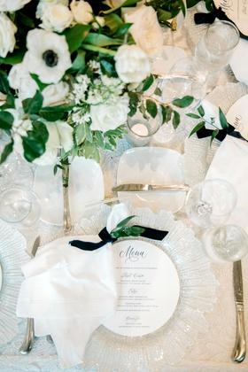 wedding reception place setting glass charger circle menu blue script velvet navy ribbon napkin