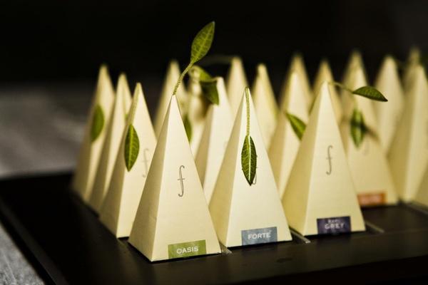 Fancy tea packaging with leaf like details