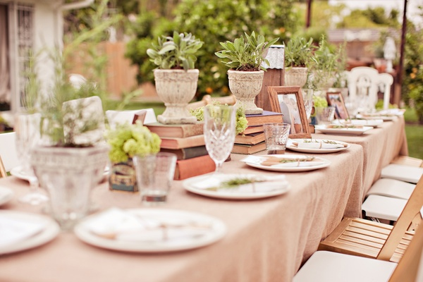 Rectangular table with plants and books