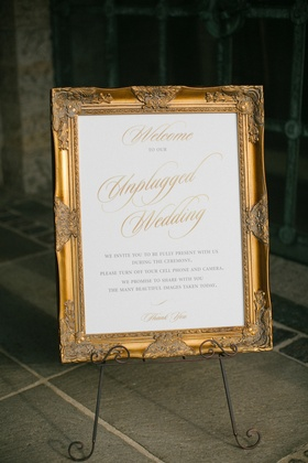 unplugged wedding ceremony sign with fancy gold frame
