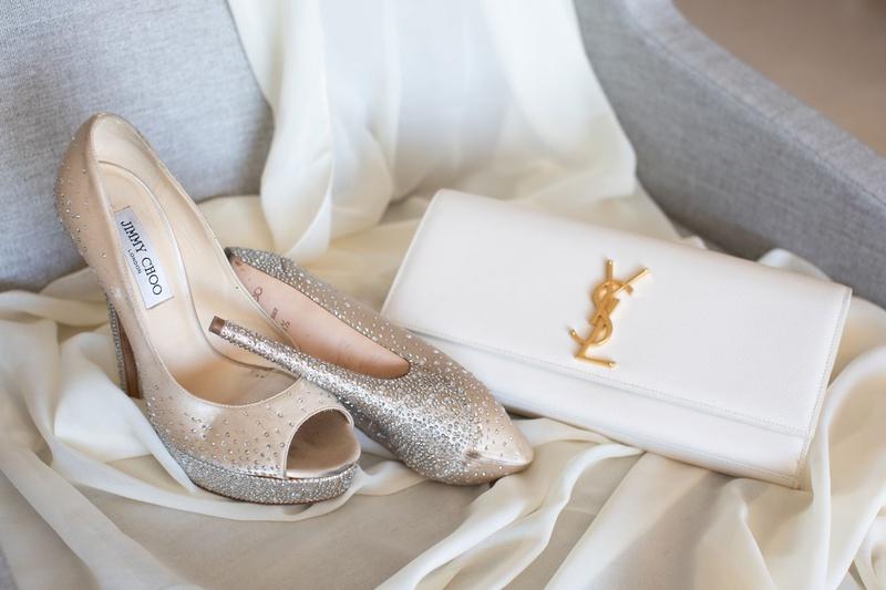 wedding accessories jimmy choo peep toe metallic glitter pumps yves saint laurent ysl white bag