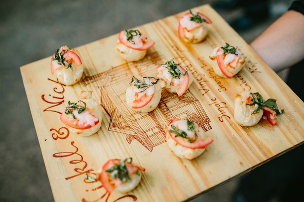 wedding menu tray passed appetizer on wood tray mini margherita pizzas pizzettas