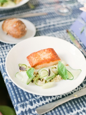 bridal shower menu salmon seared with cucumber coconut and fregola with bread plate salad on side