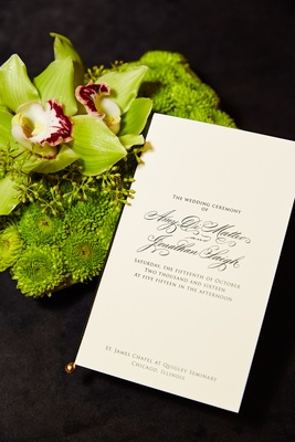 Sophisticated wedding ceremony program formal wedding at church green bouquet orchid mums